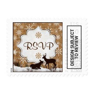 Rustic Burlap, Snowflakes & Deer RSVP Postage