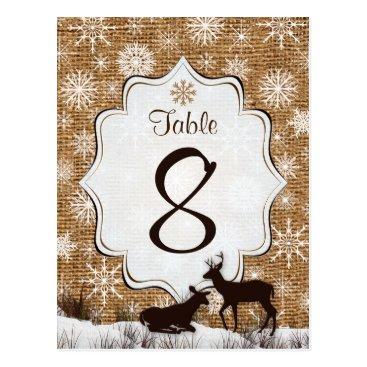 Rustic Burlap, Snowflakes, Deer Table Number Card