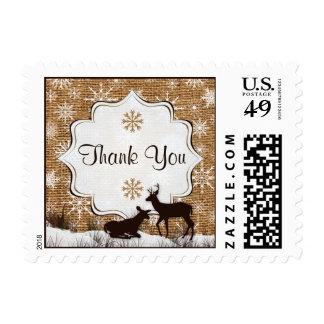 Rustic Burlap, Snowflakes & Deer Thank You Postage