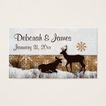 Rustic Burlap, Snowflakes & Deer Wedding Favor Tag