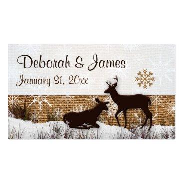 Rustic Burlap, Snowflakes & Deer Wedding Favor Tag Business Card