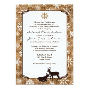 Rustic Burlap, Snowflakes & Deer Wedding Invite 2