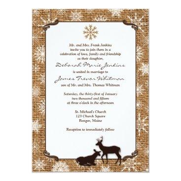 Rustic Burlap, Snowflakes & Deer Wedding Invite 2