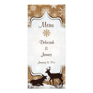 Rustic Burlap, Snowflakes & Deer Wedding Menu Card