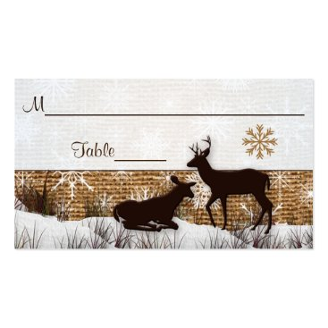 Rustic Burlap, Snowflakes & Deer Wedding Placecard Business Card