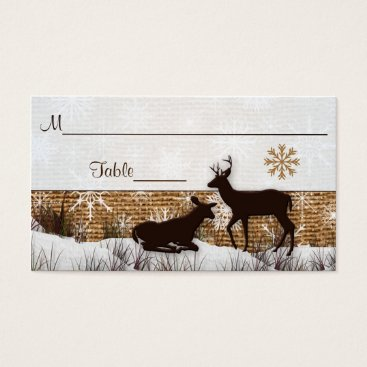 Rustic Burlap, Snowflakes & Deer Wedding Placecard Business Card