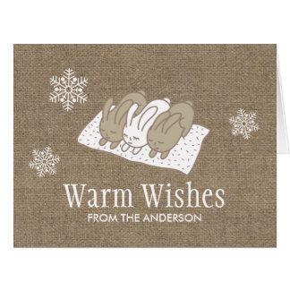 Rustic Burlap Snowflakes & Rabbits Holiday Card