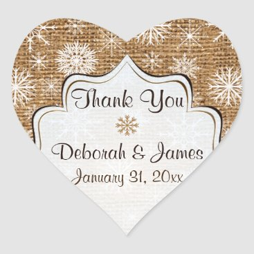 Rustic Burlap, Snowflakes Wedding Favor Sticker