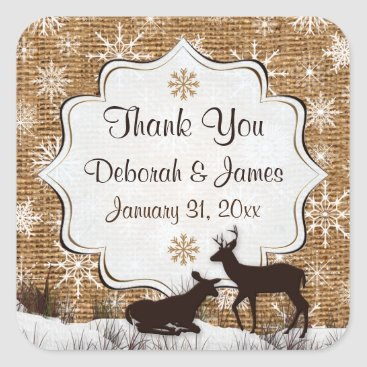 Rustic Burlap, Snowflakes Wedding Favor Sticker 2