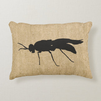 Rustic Burlap Soldier Fly Silhouette Decorative Pillow