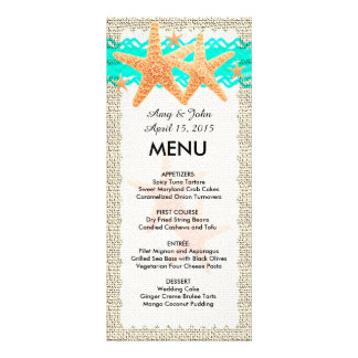 Rustic burlap starfish wedding menu starfish1 custom rack card