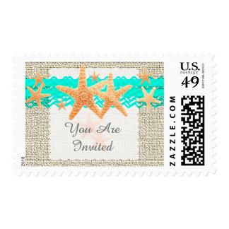 Rustic burlap starfish wedding postage starfish1