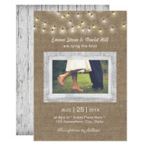 Rustic Burlap String Lights Elegant Photo Wedding Invitation