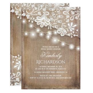 Rustic Burlap String Lights Lace Bridal Shower Card