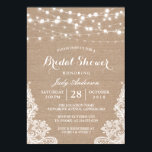 """Rustic Burlap String Lights Lace Bridal Shower Card<br><div class=""""desc"""">================= ABOUT THIS DESIGN =================  Rustic Burlap String Lights Lace Bridal Shower Invitation.  (1) All text style,  colors,  sizes can be modified to fit your needs. (2) If you need any customization or matching items,  please contact me.</div>"""