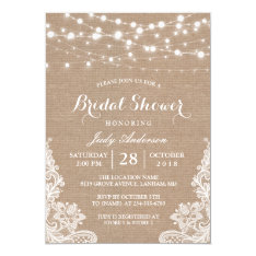 Rustic Burlap String Lights Lace Bridal Shower Card at Zazzle
