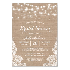 Rustic Burlap String Lights Lace Bridal Shower Card