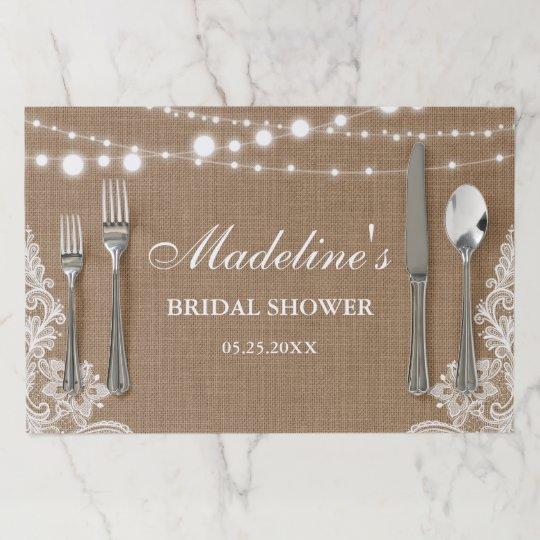 rustic burlap string lights lace bridal shower paper placemat