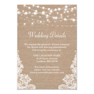 Rustic Burlap String Lights Lace Wedding Details Card
