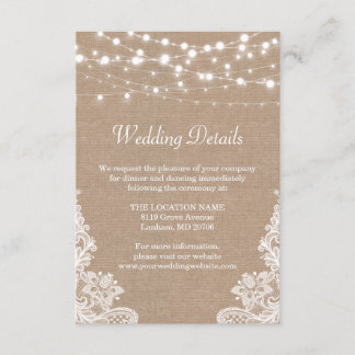 Rustic Burlap String Lights Lace Wedding Details Enclosure Card