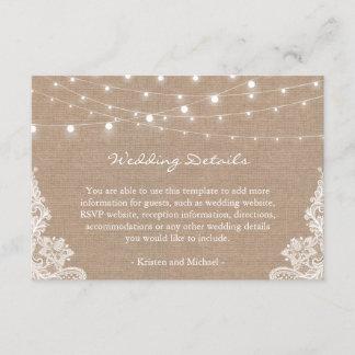 Rustic Burlap String Lights Lace Wedding Details Enclosure Card
