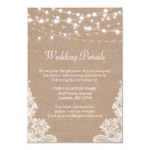 Rustic Burlap String Lights Lace Wedding Details Invitation