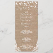 Rustic Burlap String Lights Lace Wedding Program