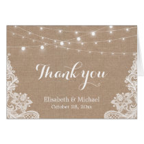 Rustic Burlap String Lights Lace Wedding Thank You