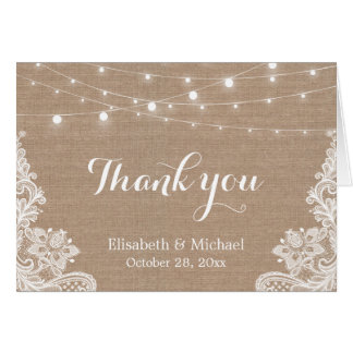 Rustic Burlap String Lights Lace Wedding Thank You Card