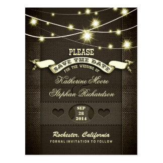 rustic burlap string lights save the date postcard