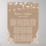 Rustic Burlap String Lights Wedding Seating Chart Poster