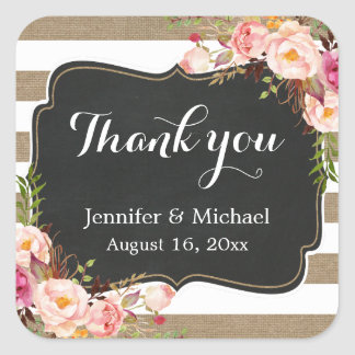 Rustic Burlap Striped Elegant Floral Thank You Square Sticker