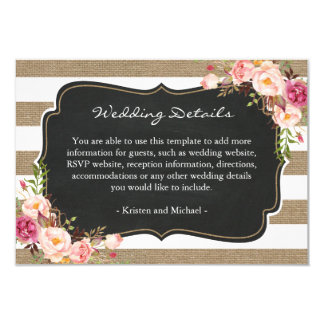 Rustic Burlap Stripes Floral Wedding Details Info Card