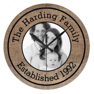 Rustic Burlap Style Family Photo Customized Wallclock