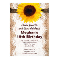 Rustic Burlap Sunflower Birthday Party Invitations