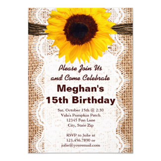 Rustic Burlap Sunflower Birthday Party Invitations