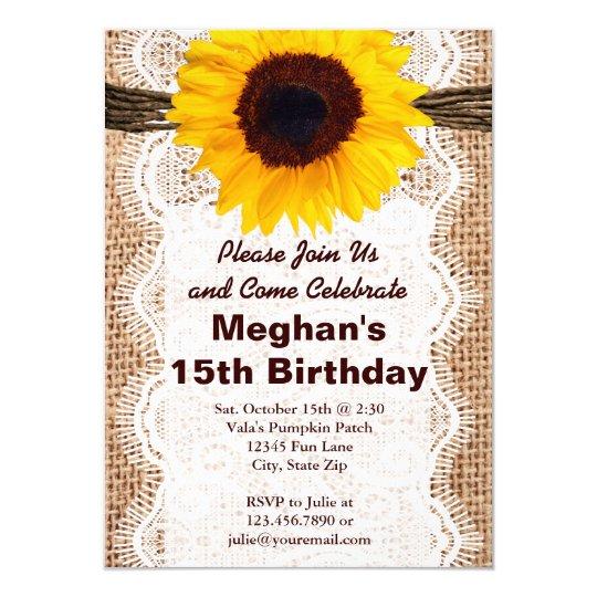 rustic burlap sunflower birthday party invitations zazzle com