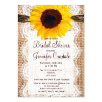 Rustic Burlap Sunflower Bridal Shower Invitations (<em>$2.15</em>)