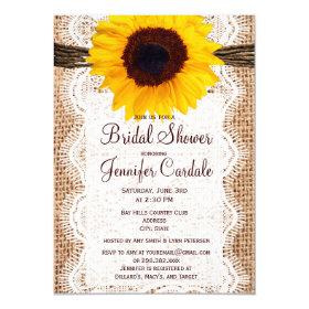 Rustic Burlap Sunflower Bridal Shower Invitations 4.5