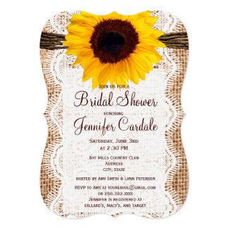 "Rustic Burlap Sunflower Bridal Shower Invitations 5"" X 7"" Invitation Card"