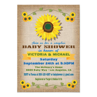 Rustic Burlap Sunflower Couples Baby Shower Card