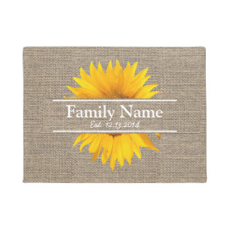 Rustic Burlap Sunflower Family Name Established Doormat