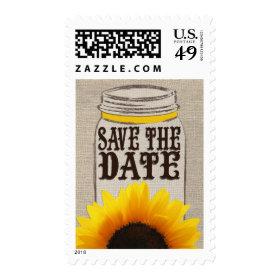 Rustic Burlap Sunflower & Mason Jar Postage