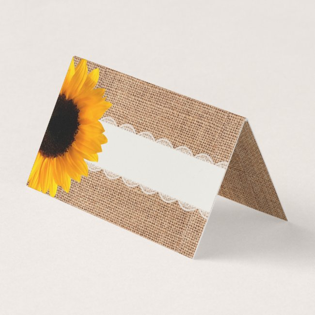 Rustic Burlap Sunflower Wedding Folded Place Card