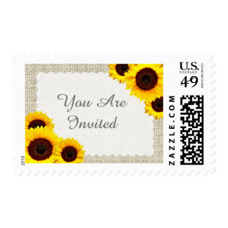 Rustic burlap sunflower wedding postage sunflower1