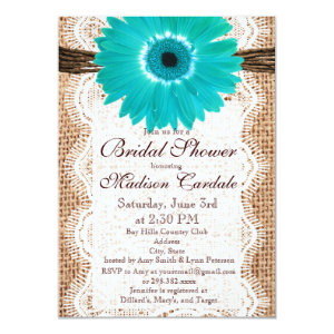 Rustic Burlap Teal Daisy Bridal Shower Invitations Announcement