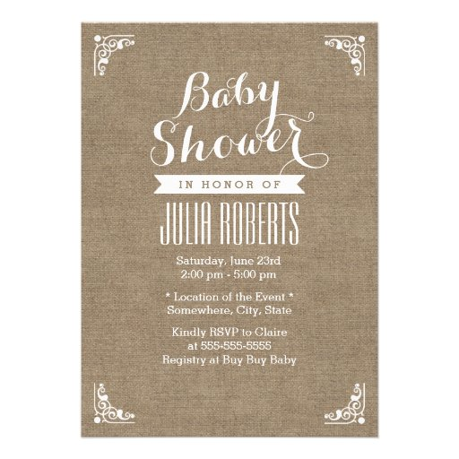 Rustic Burlap Texture Baby Shower Invitations