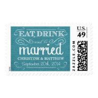 Rustic Burlap Turquoise Blue Wedding Postage