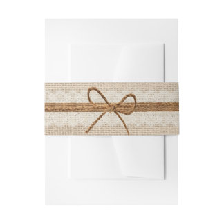 Rustic Burlap Twine Country Wedding Invitation Belly Band