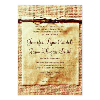 Rustic Burlap Twine Distressed Wedding Invitation